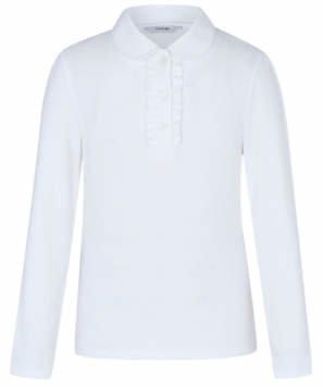 George Girls White Long Sleeve Ruffle Polo School Shirt