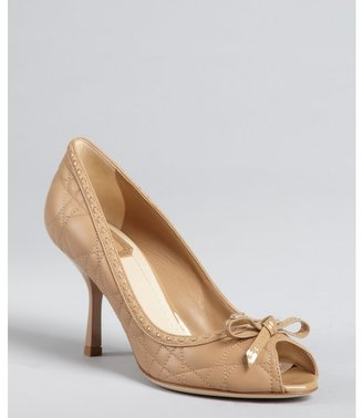 Christian Dior beige cannage leather bow detail open toe pumps