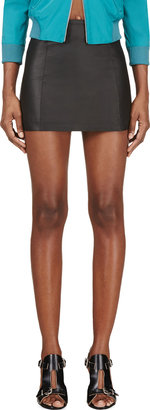 Alexander Wang Black Leather A-Line Mini Skirt