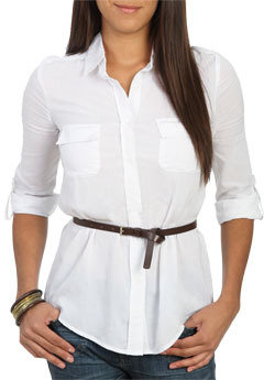 Wet Seal WetSeal Belted Woven Shirt White