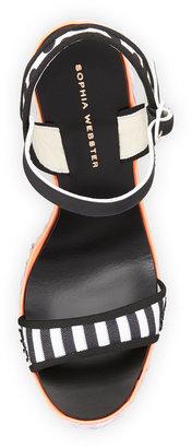 Webster Sophia Lucita Mixed-Pattern Wedge Sandal, Black/White