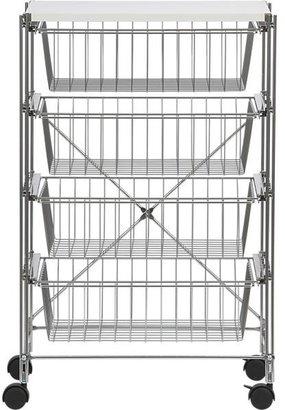 Crate & Barrel Chrome Four-Drawer Cart