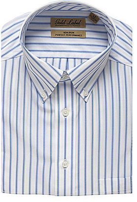 Roundtree & Yorke Gold Label Big & Tall Striped Perfect Performance Sportshirt