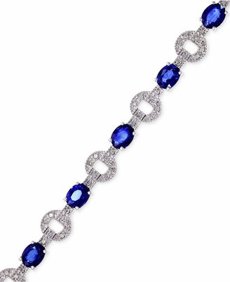 Effy Royale Bleu by Sapphire (5-1/8 ct. t.w.) and Diamond (1/3 ct. t.w.) Bracelet in 14k White Gold