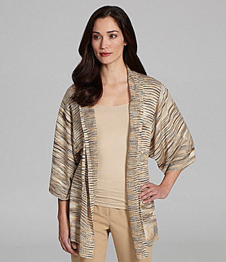 Investments Space-Dye Open-Front Cardigan