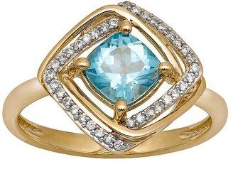 Yellora blue topaz & 1/7-ct. t.w. diamond twist halo ring