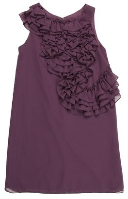 Us Angels Blush Ruffle Front Dress (Plum) - Apparel