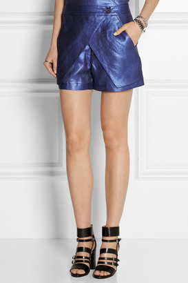 Zero Maria Cornejo Cargo wrap-effect coated linen shorts