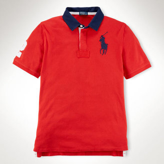 Cotton Mesh Rugby Polo Shirt