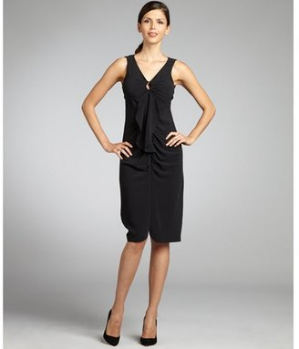 Elie Tahari black stretch tie neck ruffle 'Avelon' tank dress