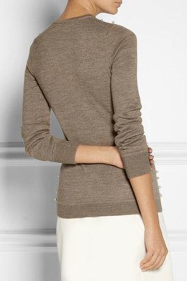 Lela Rose Embellished wool, silk and cashmere-blend sweater