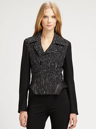 Elie Tahari Tweed/Leather Francis Jacket