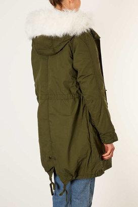 Topshop Tall Khaki Parka Coat