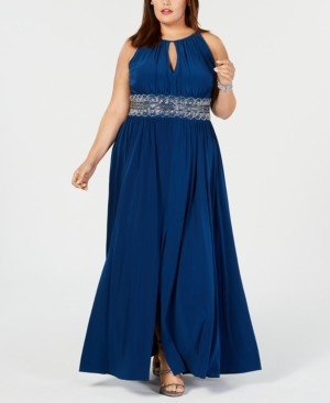R & M Richards Plus Size Sleeveless Beaded Gown