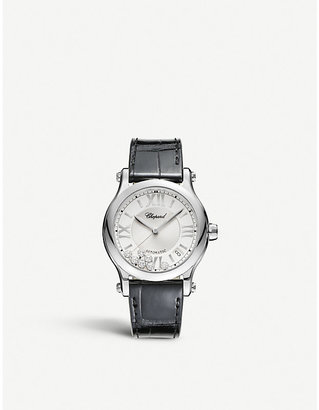 Chopard Happy Sport Medium stainless steel, diamond and croccodile-leather watch, Women's, Size: Medium, stainless steel