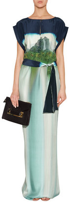 Matthew Williamson Ink Blue-Multi Silk Print Dress