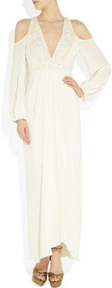 Temperley London Embellished cutout silk-crepe gown