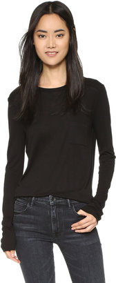 T by Alexander Wang Classic Long Sleeve Tee with Pocket $90 thestylecure.com