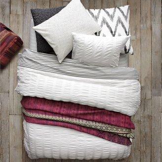 west elm Organic Seersucker Duvet Cover - White