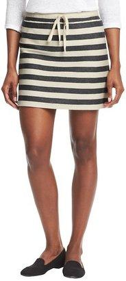 LOFT Striped Cotton Terry Drawstring Skirt