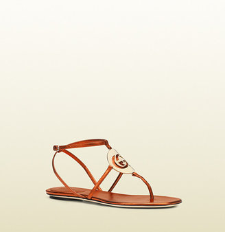 Gucci new GG cage metallic leather sandal