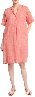 Eileen Fisher Mandarin Collar Short-Sleeve Dress