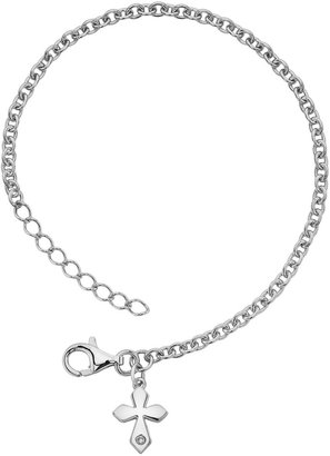 Little Diva Diamonds Sterling Silver Diamond Accent Cross Bracelet - Kids