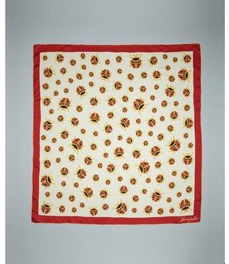 Kenneth Jay Lane red silk 'Ladybug' 35inch scarf