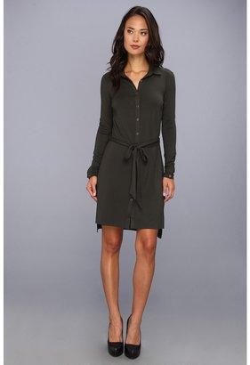 Three Dots L/S Shirt Dress w/ Tie Belt (Winter Frost) - Apparel