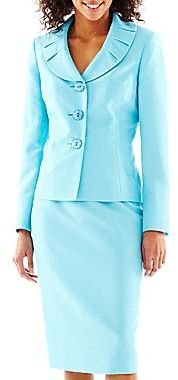 JCPenney 3-Button Pleated Tweed Skirt Suit