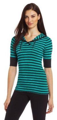 Calvin Klein Women's Elbow Sleeve Hooded Tie Dye Stripe Tee