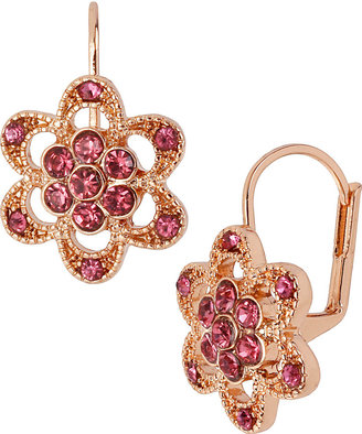 Betsey Johnson Rose Gold Pave Flower Earring