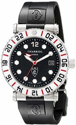 Charriol Men's 'Rotonde' Swiss Quartz Stainless Steel and Rubber Casual Watch