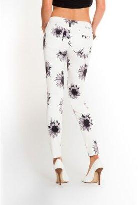 GUESS Kate Mod Sunflower-Print White Low-Rise Denim Leggings
