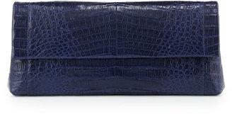 Nancy Gonzalez Gotham Crocodile Flap Clutch Bag, Navy