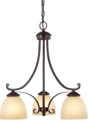 Tumbleweed Filament Design 3-Light Burnished Bronze Chandelier with Glass Shade