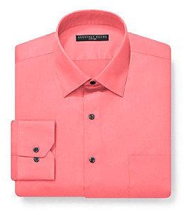 Geoffrey Beene Men's Orange Fitted Long Sleeve Dress Shirt