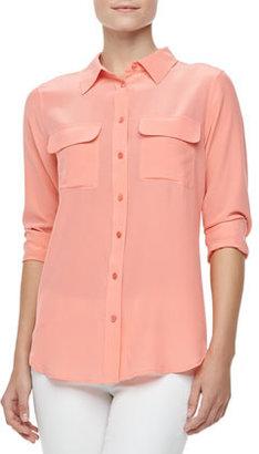 Equipment Slim Signature Silk Blouse, Shell Pink