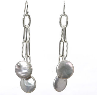 Deborah Grivas Designs Pearl Drop Chain Earrings
