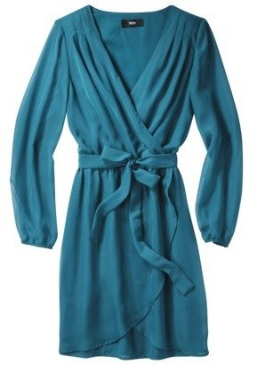 Mossimo Women's Long Sleeve Wrap Dress - Assorted Colors