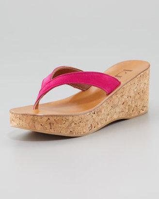 K. Jacques Diorite Thong Wedge Sandal, Pink