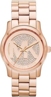 Michael Kors Rose Golden Stainless Steel Logo Three-Hand Glitz Watch