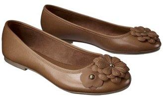 Merona Women's Madalena Flower Embelished Toe Closed Flat - Cognac