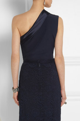 ADAM by Adam Lippes One-shoulder satin-trimmed silk-crepe top