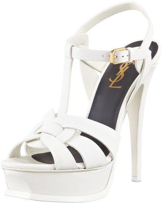Saint Laurent New Tribute Platform Sandal, White