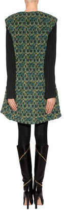 Anna Sui Cocoon Mixed-Media Coat in Teal Multi