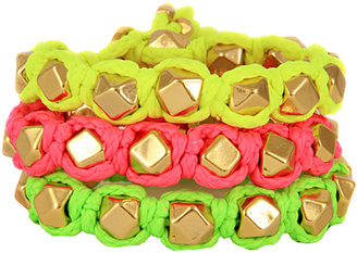 Ettika Faceted Bead Neon Bolo Cord Bracelet