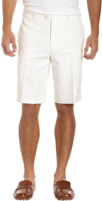 Nat Nast Flat-Front Silk-Blend Shorts, White