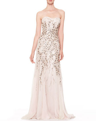 Carolina Herrera Strapless Beaded Chiffon Gown, Light Gray