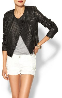 Rachel Zoe Everett Cropped Leather Epaulette Jacket